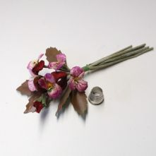 Vintage Posy of 5 Wine and Mauve Pansies